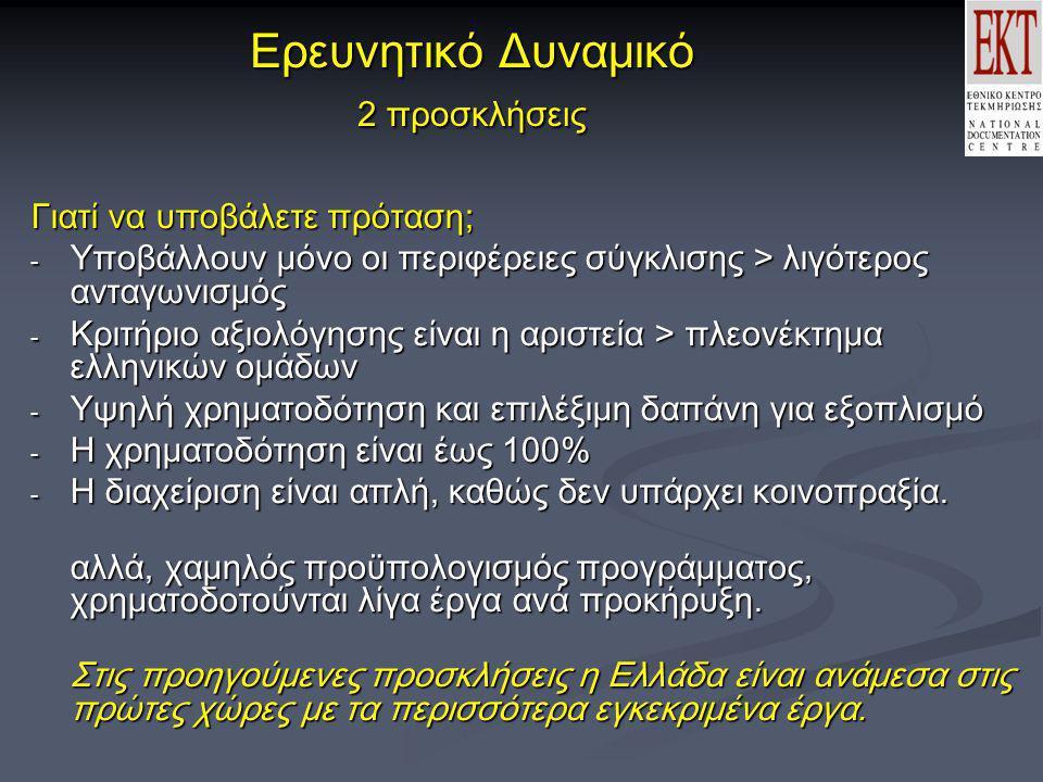 Ερευνητικό Δυναμικό 2 προσκλήσεις Γιατί να υποβάλετε πρόταση; - Υποβάλλουν μόνο οι περιφέρειες σύγκλισης > λιγότερος ανταγωνισμός - Κριτήριο αξιολόγησης είναι η αριστεία > πλεονέκτημα ελληνικών ομάδων - Υψηλή χρηματοδότηση και επιλέξιμη δαπάνη για εξοπλισμό - Η χρηματοδότηση είναι έως 100% - Η διαχείριση είναι απλή, καθώς δεν υπάρχει κοινοπραξία.