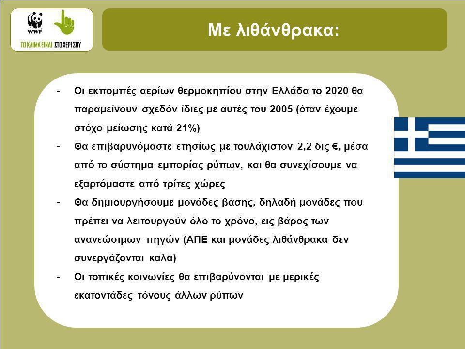 Με λιθάνθρακα: -Οι εκπομπές αερίων θερμοκηπίου στην Ελλάδα το 2020 θα παραμείνουν σχεδόν ίδιες με αυτές του 2005 (όταν έχουμε στόχο μείωσης κατά 21%) -Θα επιβαρυνόμαστε ετησίως με τουλάχιστον 2,2 δις €, μέσα από το σύστημα εμπορίας ρύπων, και θα συνεχίσουμε να εξαρτόμαστε από τρίτες χώρες -Θα δημιουργήσουμε μονάδες βάσης, δηλαδή μονάδες που πρέπει να λειτουργούν όλο το χρόνο, εις βάρος των ανανεώσιμων πηγών (ΑΠΕ και μονάδες λιθάνθρακα δεν συνεργάζονται καλά) -Οι τοπικές κοινωνίες θα επιβαρύνονται με μερικές εκατοντάδες τόνους άλλων ρύπων