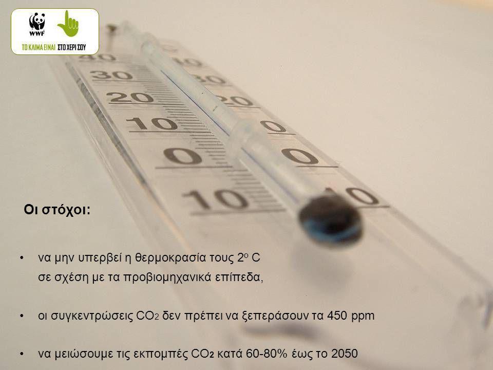 •να μην υπερβεί η θερμοκρασία τους 2 ο C σε σχέση με τα προβιομηχανικά επίπεδα, •οι συγκεντρώσεις CO 2 δεν πρέπει να ξεπεράσουν τα 450 ppm •να μειώσουμε τις εκπομπές CO 2 κατά 60-80% έως το 2050 Οι στόχοι: