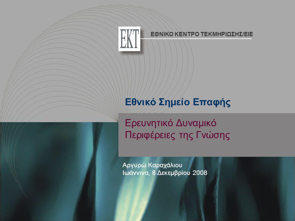 Ερευνητικό Δυναμικό Περιφέρειες της Γνώσης Αργυρώ Καραχάλιου Ιωάννινα, 8 Δεκεμβρίου 2008 Εθνικό Σημείο Επαφής ΕΘΝΙΚΟ ΚΕΝΤΡΟ ΤΕΚΜΗΡΙΩΣΗΣ/EIE