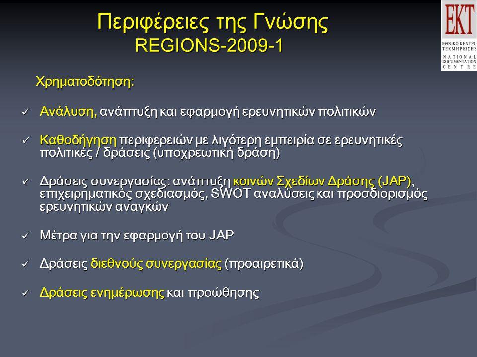 Περιφέρειες της Γνώσης REGIONS-2009-1 Περιφέρειες της Γνώσης REGIONS-2009-1 Χρηματοδότηση: Χρηματοδότηση:  Ανάλυση, ανάπτυξη και εφαρμογή ερευνητικών πολιτικών  Καθοδήγηση περιφερειών με λιγότερη εμπειρία σε ερευνητικές πολιτικές / δράσεις (υποχρεωτική δράση)  Δράσεις συνεργασίας: ανάπτυξη κοινών Σχεδίων Δράσης (JAP), επιχειρηματικός σχεδιασμός, SWOT αναλύσεις και προσδιορισμός ερευνητικών αναγκών  Μέτρα για την εφαρμογή του JAP  Δράσεις διεθνούς συνεργασίας (προαιρετικά)  Δράσεις διεθνούς συνεργασίας (προαιρετικά)  Δράσεις ενημέρωσης και προώθησης  Δράσεις ενημέρωσης και προώθησης
