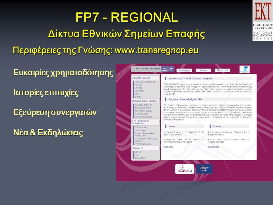 FP7 - REGIONAL Δίκτυα Εθνικών Σημείων Επαφής Περιφέρειες της Γνώσης: www.transregncp.eu Ευκαιρίες χρηματοδότησης Ιστορίες επιτυχίες Εξεύρεση συνεργατών Νέα & Εκδηλώσεις Περιφέρειες της Γνώσης: www.transregncp.eu Ευκαιρίες χρηματοδότησης Ιστορίες επιτυχίες Εξεύρεση συνεργατών Νέα & Εκδηλώσεις