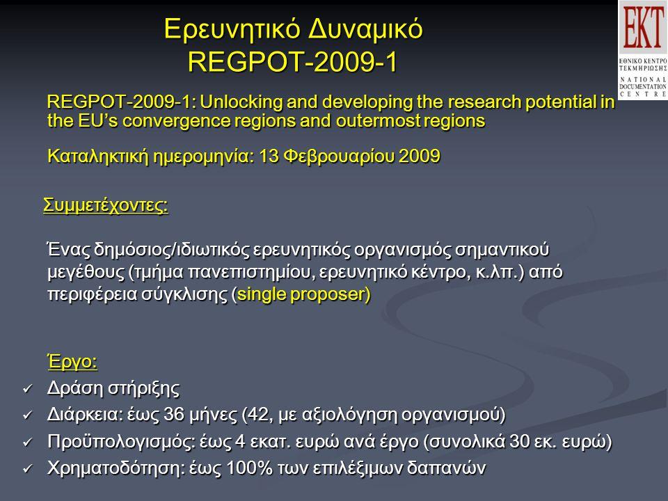Ερευνητικό Δυναμικό REGPOT-2009-1 REGPOT-2009-1: Unlocking and developing the research potential in the EU's convergence regions and outermost regions Καταληκτική ημερομηνία: 13 Φεβρουαρίου 2009 REGPOT-2009-1: Unlocking and developing the research potential in the EU's convergence regions and outermost regions Καταληκτική ημερομηνία: 13 Φεβρουαρίου 2009 Συμμετέχοντες: Ένας δημόσιος/ιδιωτικός ερευνητικός οργανισμός σημαντικού μεγέθους (τμήμα πανεπιστημίου, ερευνητικό κέντρο, κ.λπ.) από περιφέρεια σύγκλισης (single proposer) Συμμετέχοντες: Ένας δημόσιος/ιδιωτικός ερευνητικός οργανισμός σημαντικού μεγέθους (τμήμα πανεπιστημίου, ερευνητικό κέντρο, κ.λπ.) από περιφέρεια σύγκλισης (single proposer) Έργο: Έργο:  Δράση στήριξης  Διάρκεια: έως 36 μήνες (42, με αξιολόγηση οργανισμού)  Προϋπολογισμός: έως 4 εκατ.