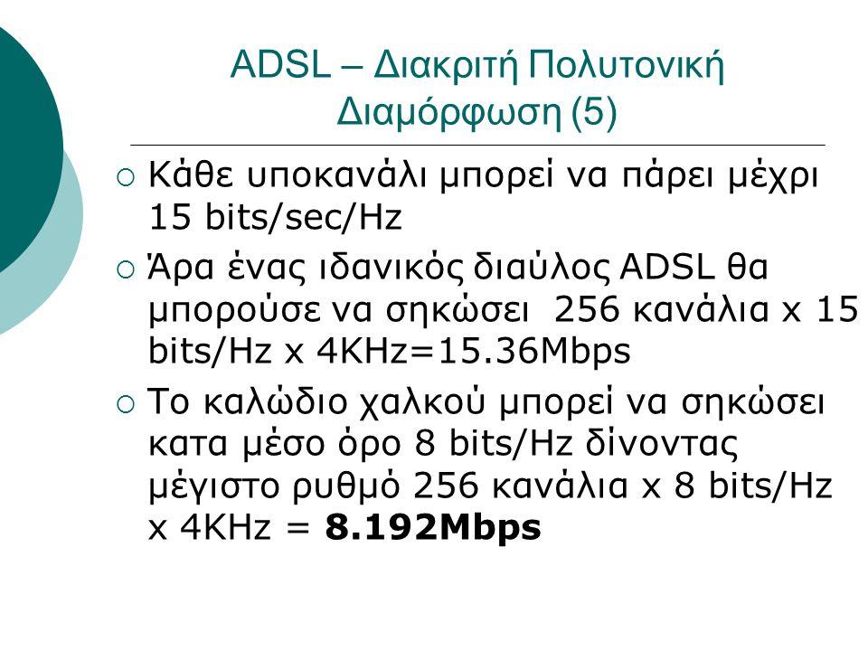 ADSL – Διακριτή Πολυτονική Διαμόρφωση (5)  Κάθε υποκανάλι μπορεί να πάρει μέχρι 15 bits/sec/Hz  Άρα ένας ιδανικός διαύλος ADSL θα μπορούσε να σηκώσε