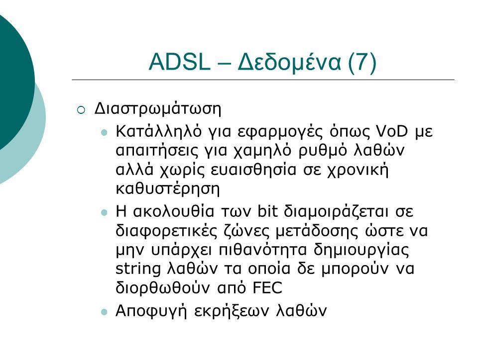 ADSL – Δεδομένα (7)  Διαστρωμάτωση  Κατάλληλό για εφαρμογές όπως VoD με απαιτήσεις για χαμηλό ρυθμό λαθών αλλά χωρίς ευαισθησία σε χρονική καθυστέρη