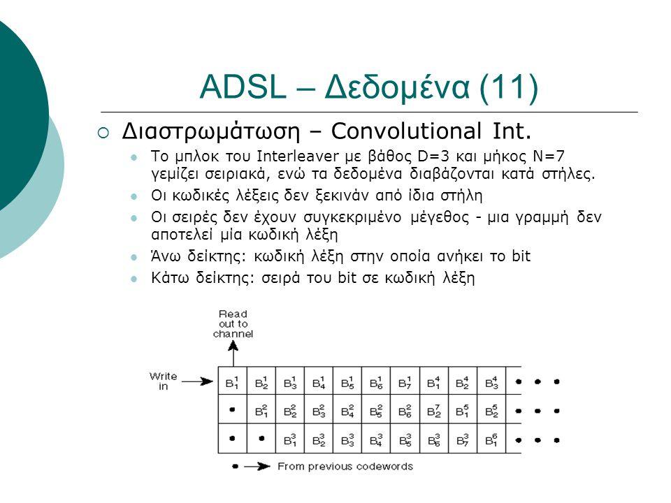 ADSL – Δεδομένα (11)  Διαστρωμάτωση – Convolutional Int.  Το μπλοκ του Interleaver με βάθος D=3 και μήκος N=7 γεμίζει σειριακά, ενώ τα δεδομένα διαβ