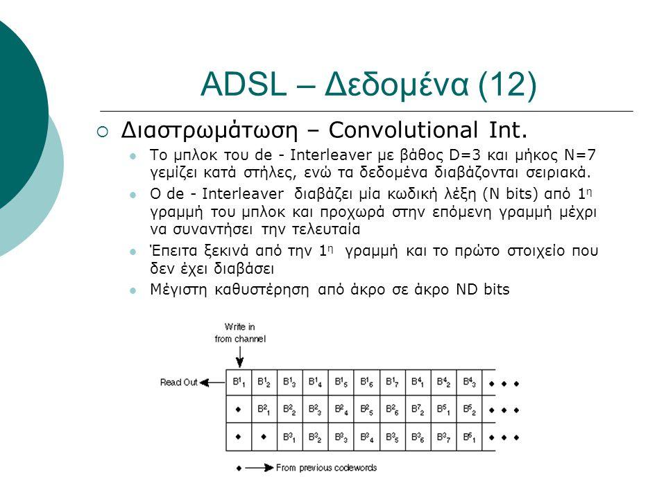 ADSL – Δεδομένα (12)  Διαστρωμάτωση – Convolutional Int.  Το μπλοκ του de - Interleaver με βάθος D=3 και μήκος N=7 γεμίζει κατά στήλες, ενώ τα δεδομ