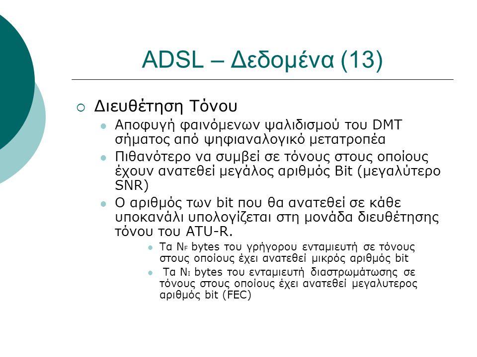 ADSL – Δεδομένα (13)  Διευθέτηση Τόνου  Αποφυγή φαινόμενων ψαλιδισμού του DMT σήματος από ψηφιαναλογικό μετατροπέα  Πιθανότερο να συμβεί σε τόνους