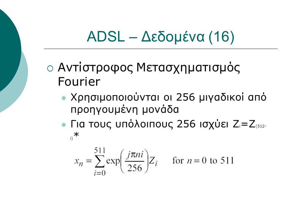 ADSL – Δεδομένα (16)  Αντίστροφος Μετασχηματισμός Fourier  Χρησιμοποιούνται οι 256 μιγαδικοί από προηγουμένη μονάδα  Για τους υπόλοιπους 256 ισχύει