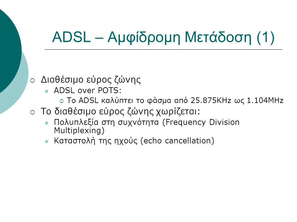 ADSL – Αμφίδρομη Μετάδοση (2)  FDM  Δεσμεύεται η ζώνη 138KHz έως 1.1MHz για τα δεδομένα λήψης (υποκανάλι 33 με 256)  Δεσμεύεται η ζώνη 25KHz με 138KHz για τα δεδομένα αποστολής (υποκανάλι 7 με 32).