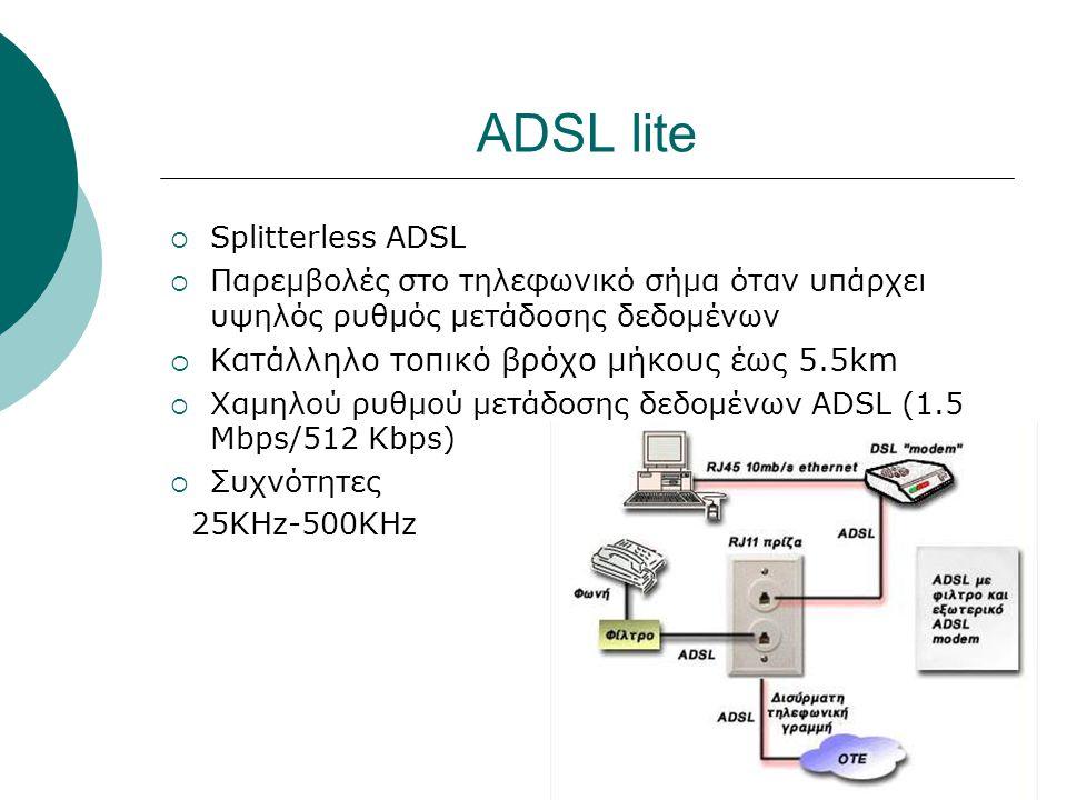 ADSL lite  Splitterless ADSL  Παρεμβολές στο τηλεφωνικό σήμα όταν υπάρχει υψηλός ρυθμός μετάδοσης δεδομένων  Κατάλληλο τοπικό βρόχο μήκους έως 5.5k