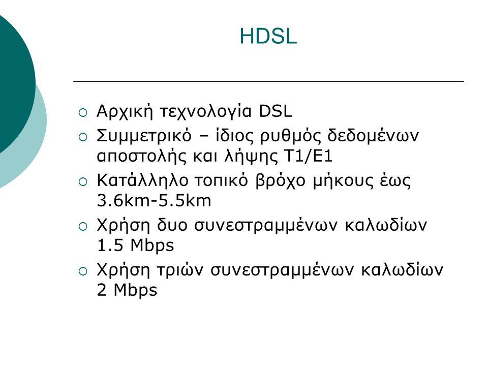 HDSL  Αρχική τεχνολογία DSL  Συμμετρικό – ίδιος ρυθμός δεδομένων αποστολής και λήψης T1/E1  Κατάλληλο τοπικό βρόχο μήκους έως 3.6km-5.5km  Χρήση δ