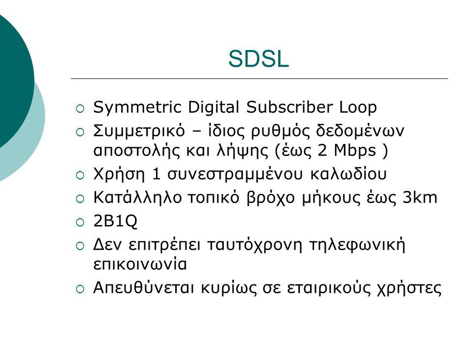SDSL  Symmetric Digital Subscriber Loop  Συμμετρικό – ίδιος ρυθμός δεδομένων αποστολής και λήψης (έως 2 Mbps )  Χρήση 1 συνεστραμμένου καλωδίου  Κ