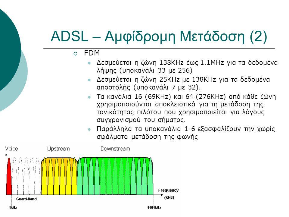 ADSL – Αμφίδρομη Μετάδοση (2)  FDM  Δεσμεύεται η ζώνη 138KHz έως 1.1MHz για τα δεδομένα λήψης (υποκανάλι 33 με 256)  Δεσμεύεται η ζώνη 25KHz με 138