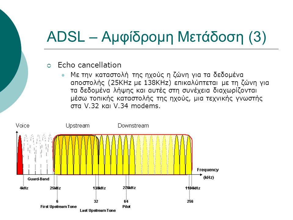 ADSL – Δεδομένα (2)  Τέσσερις διαφορετικές δομές πλαισίου με διαφορετική επιβάρυνση (overhead)  0 κύρια δομή  ADSL χρησιμοποιεί δύο «δρόμους» με διαφορετική καθυστέρηση για τη μετάδοση δεδομένων  Γρήγορο (Fast)  low latency (2ms)  Real time traffic  Διαστρωματωμένο (Interleaved)  low error rate  Reed-Solomon encoding