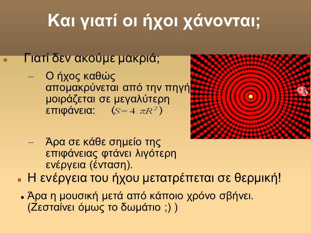 Και γιατί οι ήχοι χάνονται;  Γιατί δεν ακούμε μακριά; – Ο ήχος καθώς απομακρύνεται από την πηγή μοιράζεται σε μεγαλύτερη επιφάνεια: – Άρα σε κάθε σημ