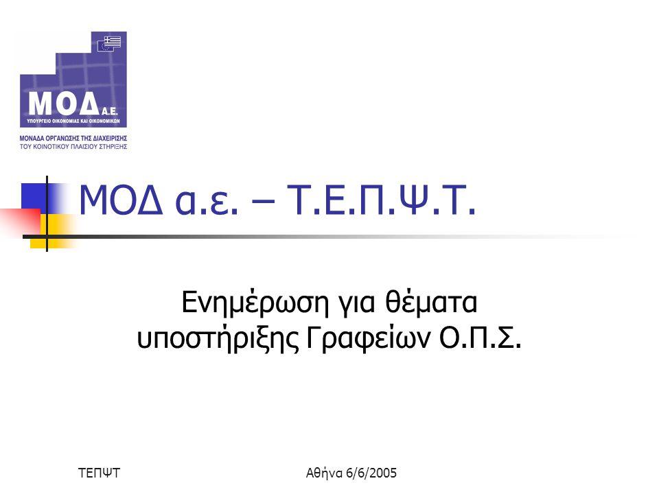 ΤΕΠΨΤΑθήνα 6/6/2005 ΜΟΔ α.ε. – Τ.Ε.Π.Ψ.Τ. Ενημέρωση για θέματα υποστήριξης Γραφείων Ο.Π.Σ.