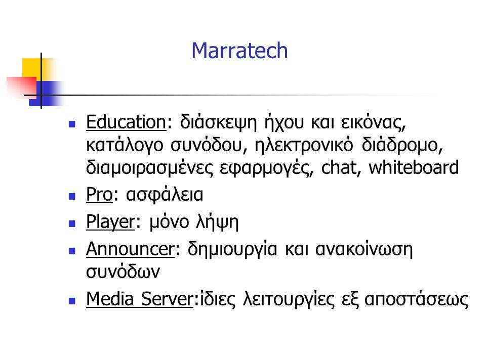 Marratech  Education: διάσκεψη ήχου και εικόνας, κατάλογο συνόδου, ηλεκτρονικό διάδρομο, διαμοιρασμένες εφαρμογές, chat, whiteboard  Pro: ασφάλεια 