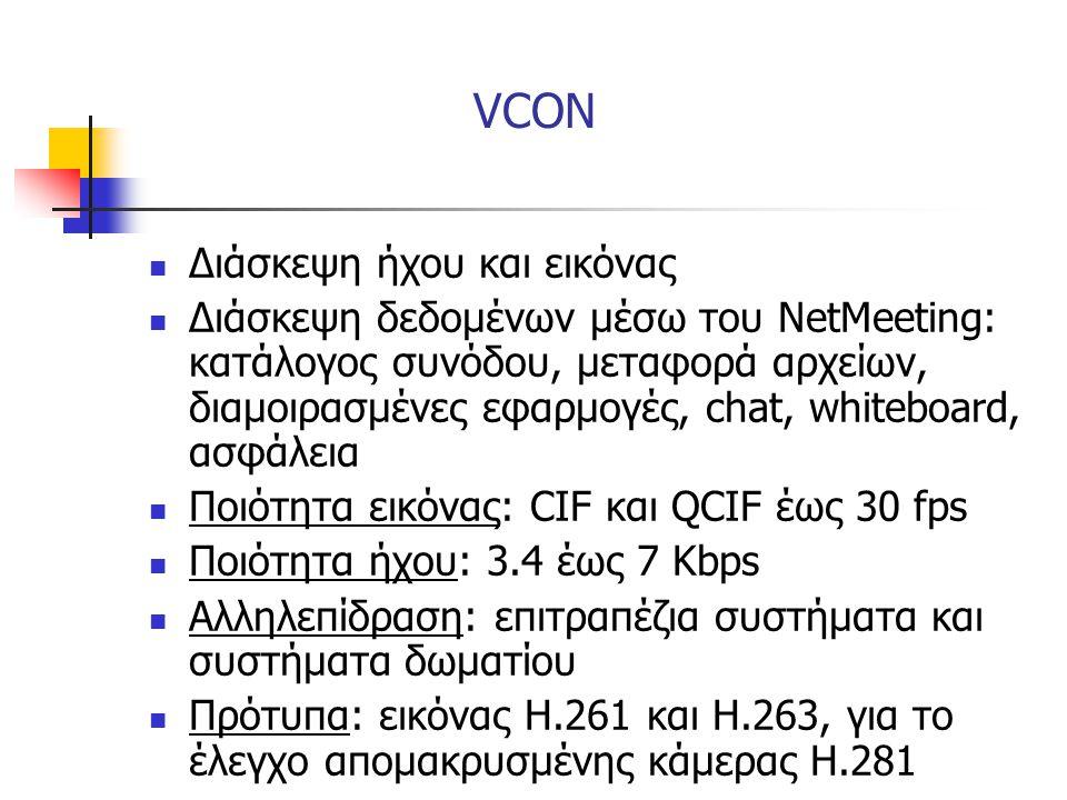 VCON  Διάσκεψη ήχου και εικόνας  Διάσκεψη δεδομένων μέσω του NetMeeting: κατάλογος συνόδου, μεταφορά αρχείων, διαμοιρασμένες εφαρμογές, chat, whiteb