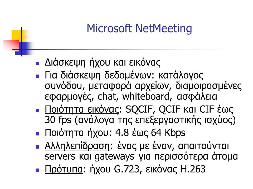 Microsoft NetMeeting  Διάσκεψη ήχου και εικόνας  Για διάσκεψη δεδομένων: κατάλογος συνόδου, μεταφορά αρχείων, διαμοιρασμένες εφαρμογές, chat, whiteb