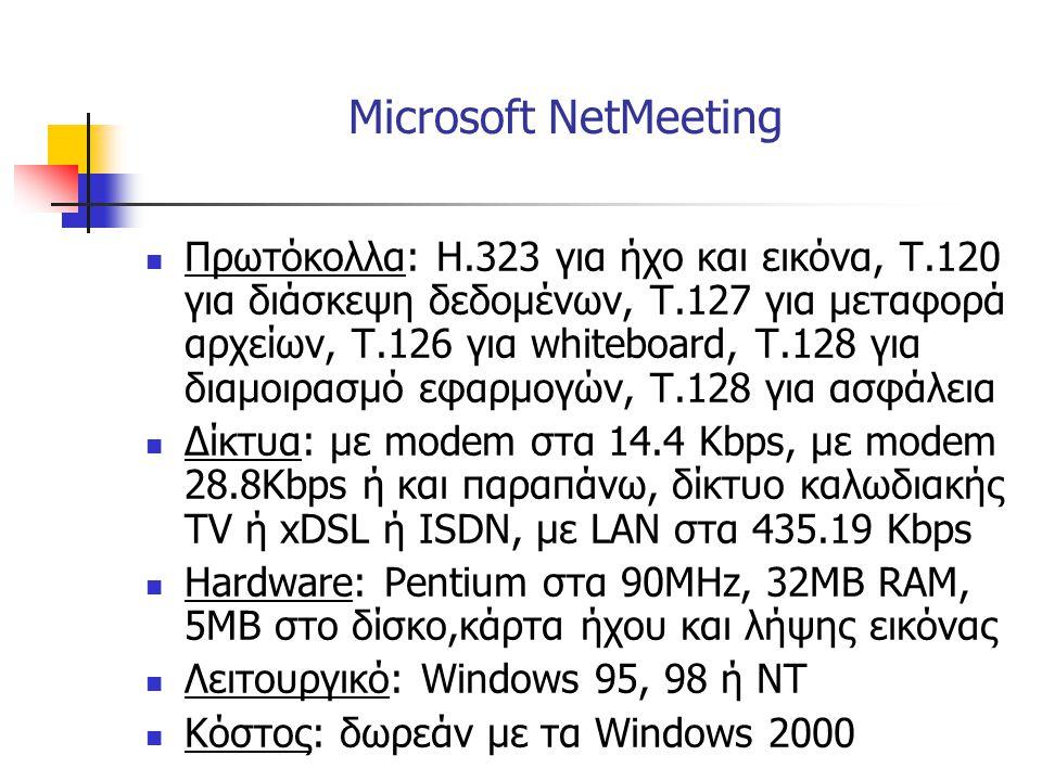  Πρωτόκολλα: Η.323 για ήχο και εικόνα, Τ.120 για διάσκεψη δεδομένων, Τ.127 για μεταφορά αρχείων, Τ.126 για whiteboard, Τ.128 για διαμοιρασμό εφαρμογώ