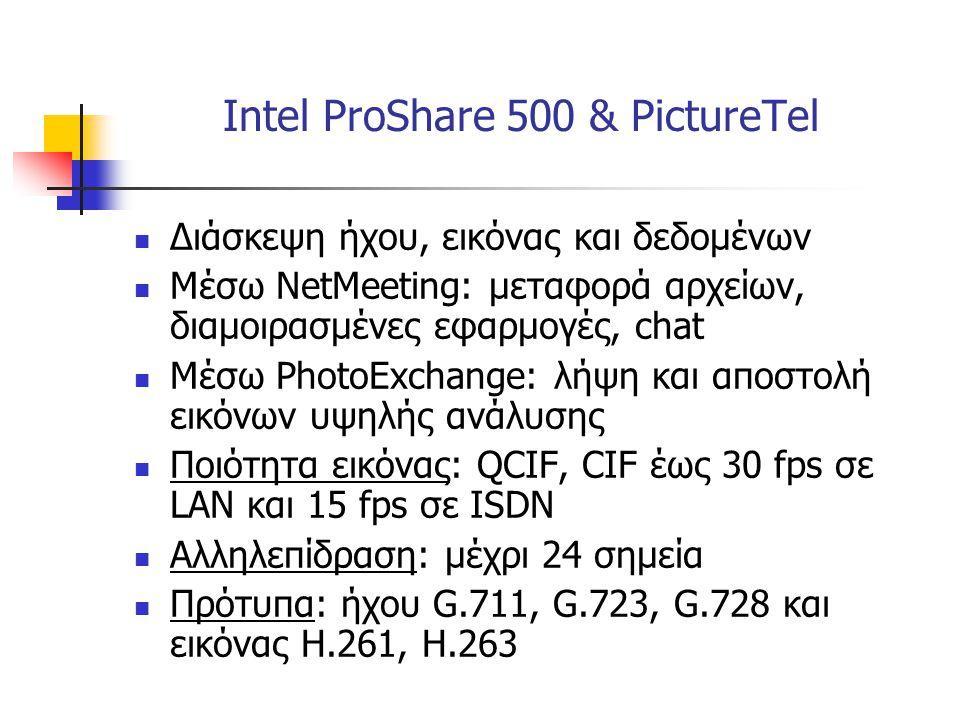 Intel ProShare 500 & PictureTel  Διάσκεψη ήχου, εικόνας και δεδομένων  Μέσω NetMeeting: μεταφορά αρχείων, διαμοιρασμένες εφαρμογές, chat  Μέσω Phot