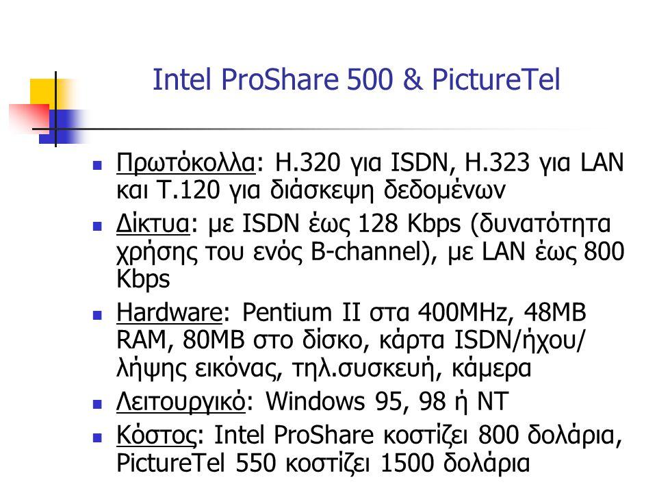  Πρωτόκολλα: Η.320 για ISDN, Η.323 για LAN και Τ.120 για διάσκεψη δεδομένων  Δίκτυα: με ISDN έως 128 Kbps (δυνατότητα χρήσης του ενός B-channel), με