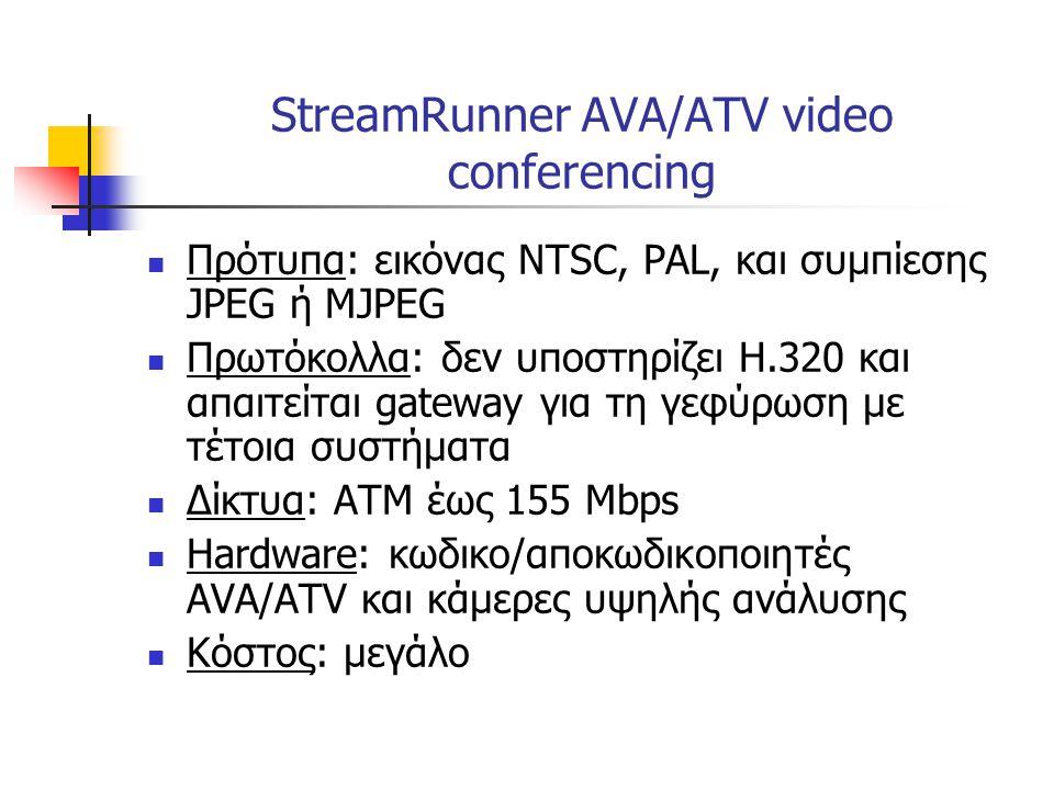  Πρότυπα: εικόνας NTSC, PAL, και συμπίεσης JPEG ή MJPEG  Πρωτόκολλα: δεν υποστηρίζει Η.320 και απαιτείται gateway για τη γεφύρωση με τέτοια συστήματ