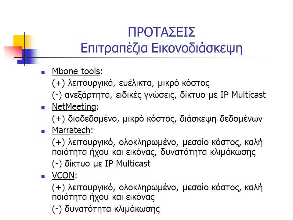 ΠΡΟΤΑΣΕΙΣ Επιτραπέζια Εικονοδιάσκεψη  Mbone tools: (+) λειτουργικά, ευέλικτα, μικρό κόστος (-) ανεξάρτητα, ειδικές γνώσεις, δίκτυο με IP Multicast 