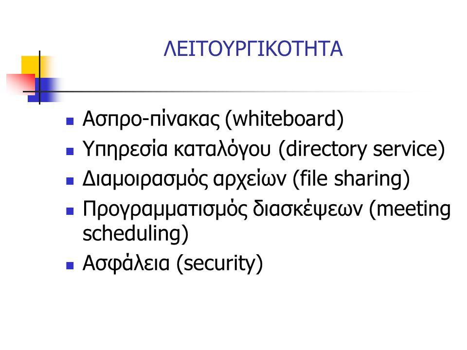 ΛΕΙΤΟΥΡΓΙΚΟΤΗΤΑ  Ασπρο-πίνακας (whiteboard)  Υπηρεσία καταλόγου (directory service)  Διαμοιρασμός αρχείων (file sharing)  Προγραμματισμός διασκέψε