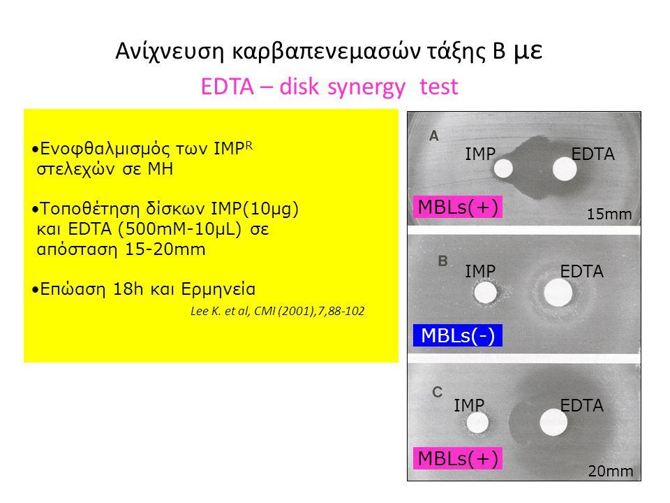 Ανίχνευση καρβαπενεμασών τάξης Β με EDTA – disk synergy test IMP EDTA •Ενοφθαλμισμός των ΙΜΡ R στελεχών σε ΜΗ •Τοποθέτηση δίσκων IMP(10μg) και EDTA (500mM-10μL) σε απόσταση 15-20mm •Επώαση 18h και Ερμηνεία Lee K.