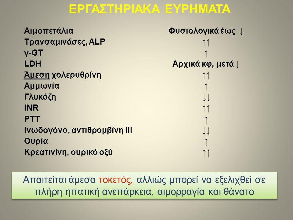 Αιμοπετάλια Φυσιολογικά έως ↓ Τρανσαμινάσες, ALP ↑↑ γ-GT ↑ LDH Αρχικά κφ, μετά ↓ Άμεση χολερυθρίνη ↑↑ Αμμωνία ↑ Γλυκόζη ↓↓ INR ↑↑ PTT ↑ Ινωδογόνο, αντιθρομβίνη ΙΙΙ ↓↓ Ουρία ↑ Κρεατινίνη, ουρικό οξύ ↑↑ ΕΡΓΑΣΤΗΡΙΑΚΑ ΕΥΡΗΜΑΤΑ Απαιτείται άμεσα τοκετός, αλλιώς μπορεί να εξελιχθεί σε πλήρη ηπατική ανεπάρκεια, αιμορραγία και θάνατο