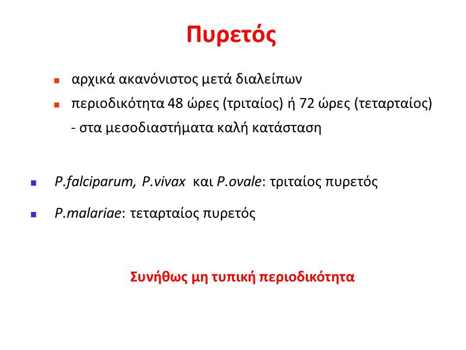 Κλινική εικόνα ελονοσίας - «Παροξυσμός» 1η φάση εισβολής: έντονο ρίγος, ψυχρό χήνειο δέρμα (αγγειοσύσπαση) ταχεία  της θερμοκρασίας 40 ο C x 15 λεπτά - 1 ώρα 2η φάση της ακμής του πυρετού: σταθερός πυρετός, έξαψη προσώπου, κεφαλαλγία, υπερδυναμική κυκλοφορία (αγγειοδιαστολή) x 4 - 8 ώρες Φάση της λύσεως του πυρετού: υποχωρεί εντός  2 ωρών με έντονες εφιδρώσεις