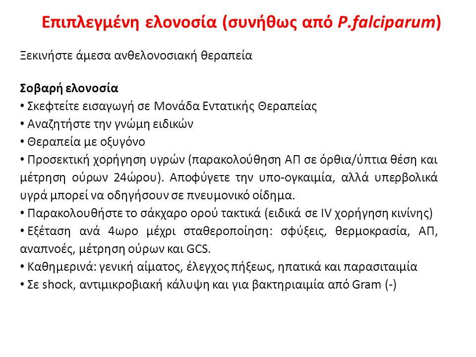 Ανθελονοσιακά για επιπλεγμένη ελονοσία (συνήθως από P.