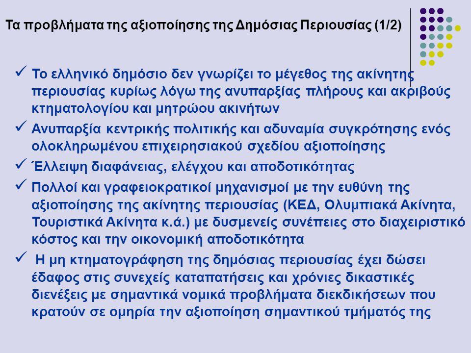 Τα προβλήματα της αξιοποίησης της Δημόσιας Περιουσίας (1/2)  Το ελληνικό δημόσιο δεν γνωρίζει το μέγεθος της ακίνητης περιουσίας κυρίως λόγω της ανυπαρξίας πλήρους και ακριβούς κτηματολογίου και μητρώου ακινήτων  Ανυπαρξία κεντρικής πολιτικής και αδυναμία συγκρότησης ενός ολοκληρωμένου επιχειρησιακού σχεδίου αξιοποίησης  Έλλειψη διαφάνειας, ελέγχου και αποδοτικότητας  Πολλοί και γραφειοκρατικοί μηχανισμοί με την ευθύνη της αξιοποίησης της ακίνητης περιουσίας (ΚΕΔ, Ολυμπιακά Ακίνητα, Τουριστικά Ακίνητα κ.ά.) με δυσμενείς συνέπειες στο διαχειριστικό κόστος και την οικονομική αποδοτικότητα  Η μη κτηματογράφηση της δημόσιας περιουσίας έχει δώσει έδαφος στις συνεχείς καταπατήσεις και χρόνιες δικαστικές διενέξεις με σημαντικά νομικά προβλήματα διεκδικήσεων που κρατούν σε ομηρία την αξιοποίηση σημαντικού τμήματός της