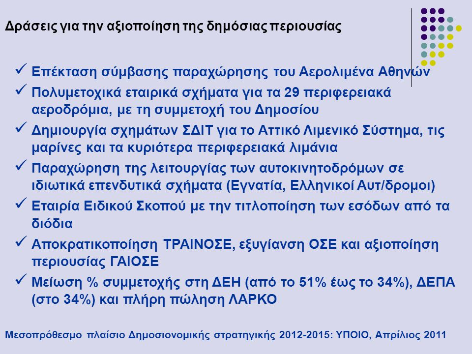 Δράσεις για την αξιοποίηση της δημόσιας περιουσίας Μεσοπρόθεσμο πλαίσιο Δημοσιονομικής στρατηγικής 2012-2015: ΥΠΟΙΟ, Απρίλιος 2011  Προσέλκυση ιδιωτικών επενδυτών στην ΕΥΔΑΠ και ΕΥΑΘ  Μείωση συμμετοχής στον ΟΤΕ, νέες άδειες κινητής τηλεφωνίας, στρατηγικός επενδυτής στα ΕΛΤΑ, πώληση των καζίνο, παραχώρηση αδειών τυχερών παιχνιδιών και στοιχήματος, πώληση της μετοχής του ΟΠΑΠ, μετοχοποίηση λαχείων, αποκρατικοποίηση ΟΔΙΕ  Αναδιάρθρωση ΑΤΕ και μείωση της συμμετοχής του δημοσίου  Διαχωρισμός Ταμείου Παρακαταθηκών και Δανείων και πώληση εμπορικής δραστηριότητας  Μείωση συμμετοχής του δημοσίου στο Ταχ.