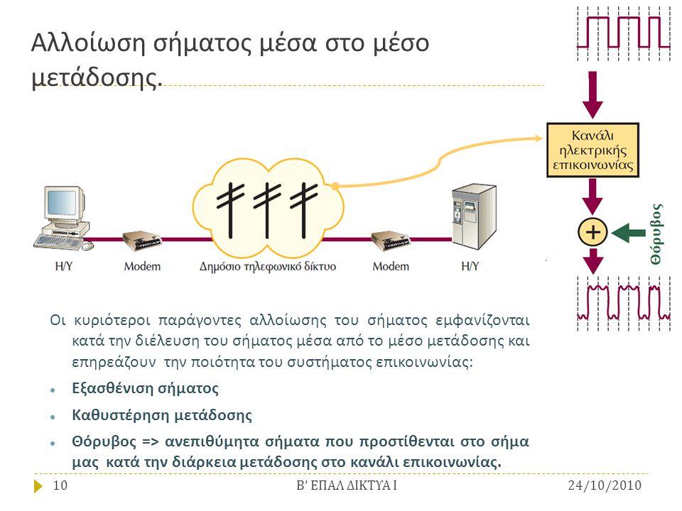 Αλλοίωση σήματος μέσα στο μέσο μετάδοσης. Οι κυριότεροι παράγοντες αλλοίωσης του σήματος εμφανίζονται κατά την διέλευση του σήματος μέσα από το μέσο μ