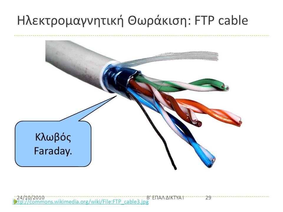 Ηλεκτρομαγνητική Θωράκιση: FTP cable http://commons.wikimedia.org/wiki/File:FTP_cable3.jpg Κλωβός Faraday. 24/10/201029Β' ΕΠΑΛ ΔΙΚΤΥΑ Ι