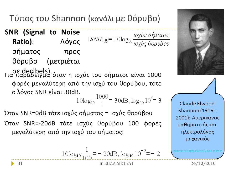 Τύπος του Shannon ( κανάλι με θόρυβο) Για παράδειγμα όταν η ισχύς του σήματος είναι 1000 φορές μεγαλύτερη από την ισχύ του θορύβου, τότε ο λόγος SNR ε