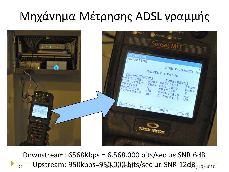 Μηχάνημα Μέτρησης ADSL γραμμής Downstream: 6568Kbps = 6.568.000 bits/sec με SNR 6dB Upstream: 950kbps=950.000 bits/sec με SNR 12dB 24/10/201034 Β ' ΕΠ