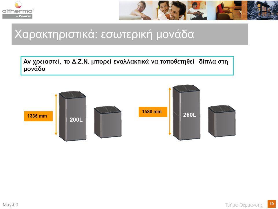 10 Μay-09 Τμήμα Θέρμανσης 1335 mm 200L 1580 mm 260L Χαρακτηριστικά: εσωτερική μονάδα Αν χρειαστεί, το Δ.Ζ.Ν. μπορεί εναλλακτικά να τοποθετηθεί δίπλα σ
