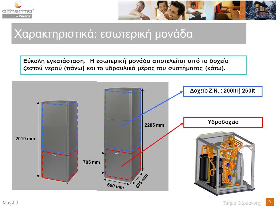 9 Μay-09 Τμήμα Θέρμανσης Χαρακτηριστικά: εσωτερική μονάδα Υδροδοχείο Εύκολη εγκατάσταση. Η εσωτερική μονάδα αποτελείται από το δοχείο ζεστού νερού (πά