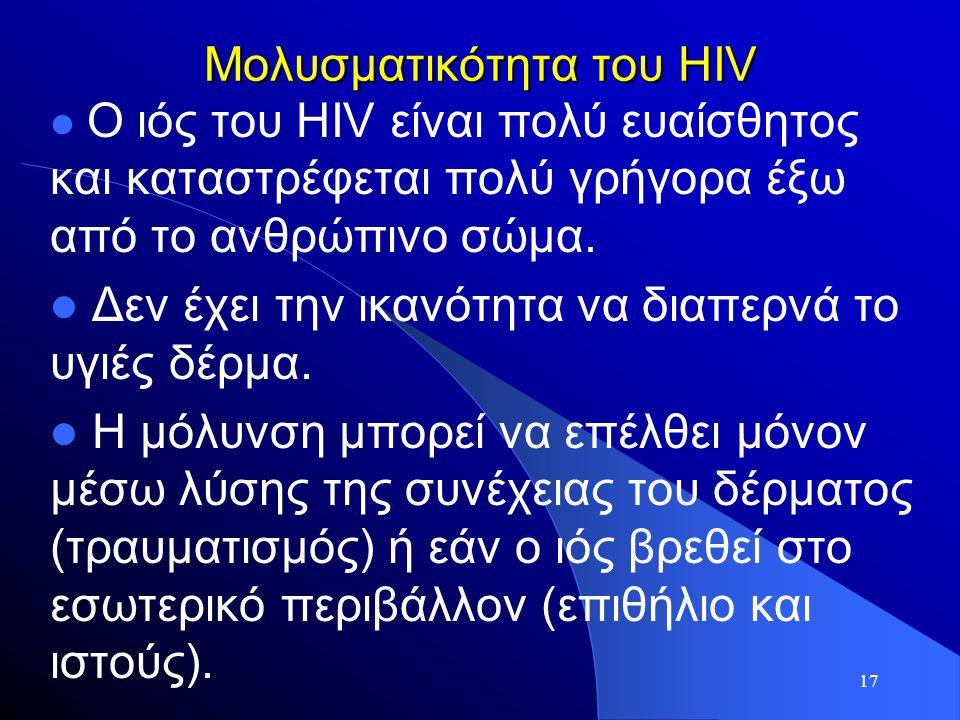 17 Μολυσματικότητα του HIV  O ιός του HIV είναι πολύ ευαίσθητος και καταστρέφεται πολύ γρήγορα έξω από το ανθρώπινο σώμα.  Δεν έχει την ικανότητα να