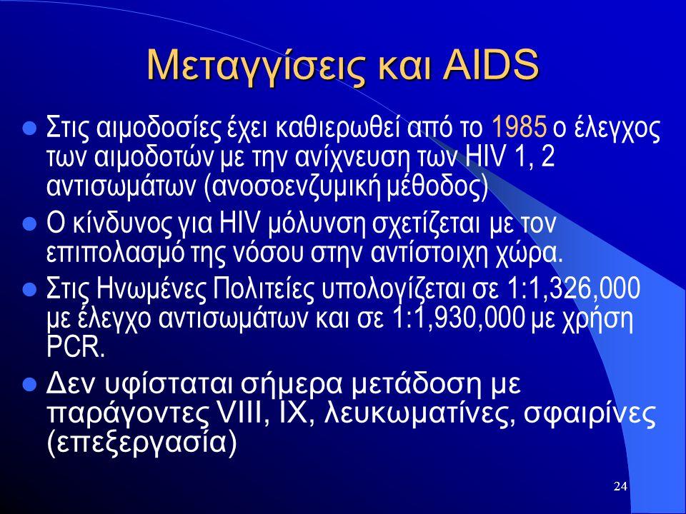 24 Μεταγγίσεις και AIDS  Στις αιμοδοσίες έχει καθιερωθεί από το 1985 ο έλεγχος των αιμοδοτών με την ανίχνευση των HIV 1, 2 αντισωμάτων (ανοσοενζυμική