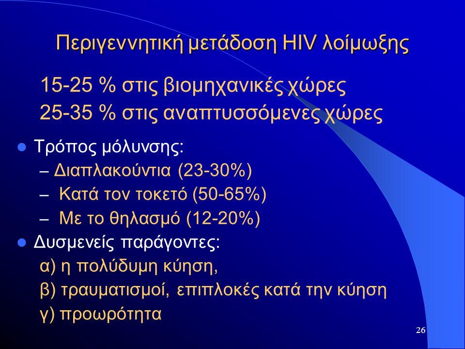 26 Περιγεννητική μετάδοση HIV λοίμωξης 15-25 % στις βιομηχανικές χώρες 25-35 % στις αναπτυσσόμενες χώρες  Τρόπος μόλυνσης: – Διαπλακούντια (23-30%) –