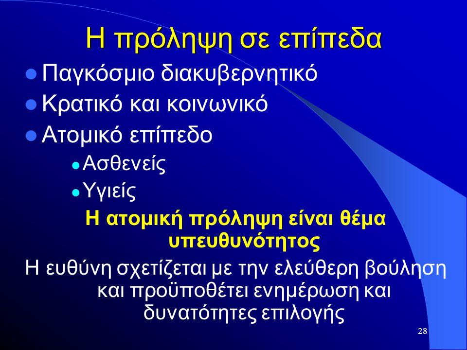 28 Η πρόληψη σε επίπεδα  Παγκόσμιο διακυβερνητικό  Κρατικό και κοινωνικό  Ατομικό επίπεδο  Ασθενείς  Υγιείς Η ατομική πρόληψη είναι θέμα υπευθυνό