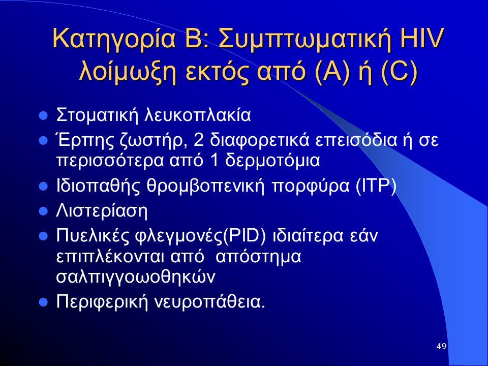 49 Κατηγορία Β: Συμπτωματική HIV λοίμωξη εκτός από (Α) ή (C)  Στοματική λευκοπλακία  Έρπης ζωστήρ, 2 διαφορετικά επεισόδια ή σε περισσότερα από 1 δε