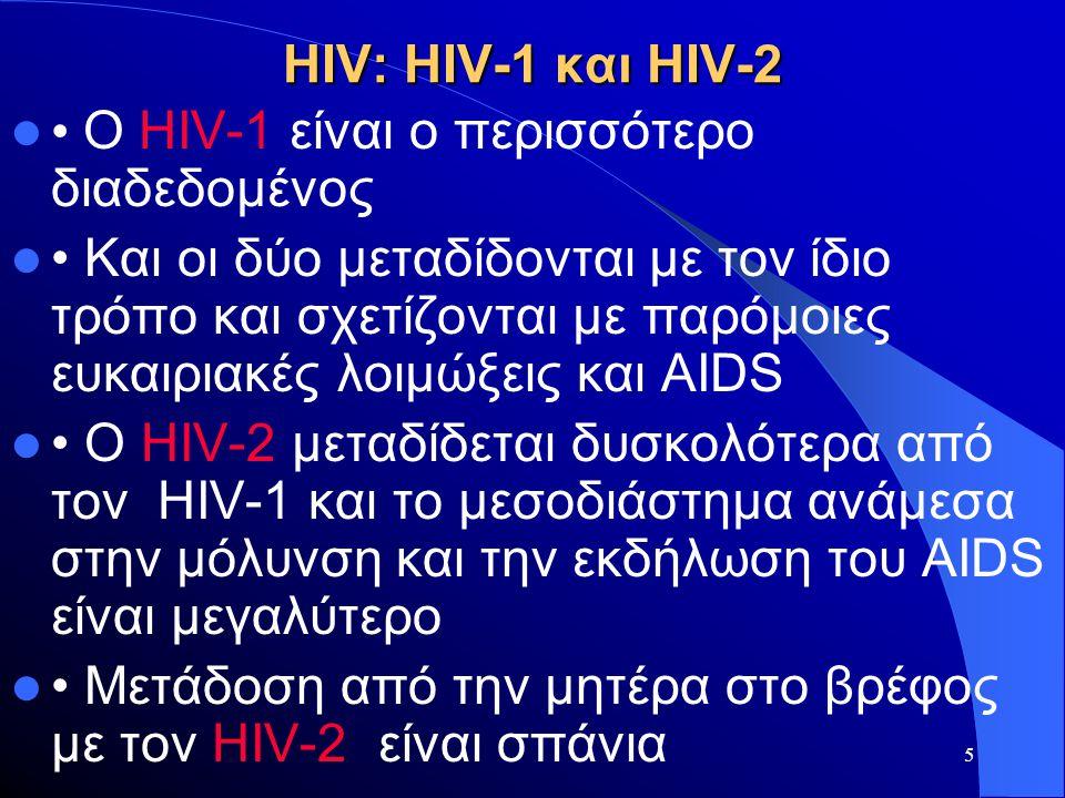 5 HIV: HIV-1 και HIV-2  • O HIV-1 είναι ο περισσότερο διαδεδομένος  • Και οι δύο μεταδίδονται με τον ίδιο τρόπο και σχετίζονται με παρόμοιες ευκαιρι