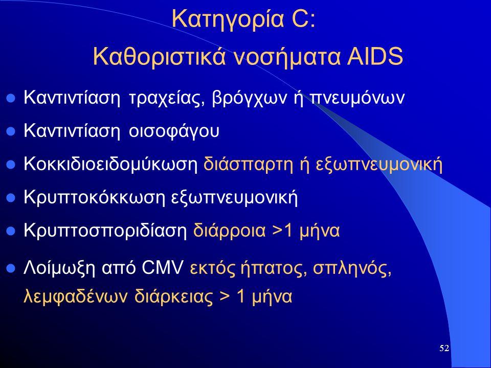52 Κατηγορία C: Καθοριστικά νοσήματα AIDS  Καντιντίαση τραχείας, βρόγχων ή πνευμόνων  Καντιντίαση οισοφάγου  Κοκκιδιοειδομύκωση διάσπαρτη ή εξωπνευ