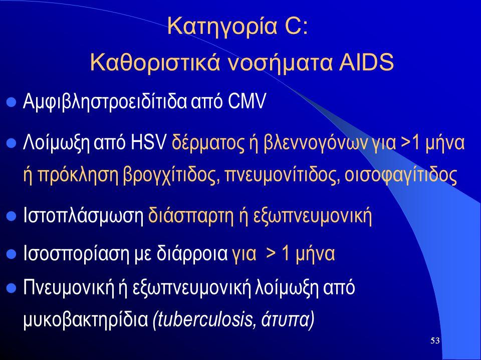 53 Κατηγορία C: Καθοριστικά νοσήματα AIDS  Αμφιβληστροειδίτιδα από CMV  Λοίμωξη από HSV δέρματος ή βλεννογόνων για >1 μήνα ή πρόκληση βρογχίτιδος, π